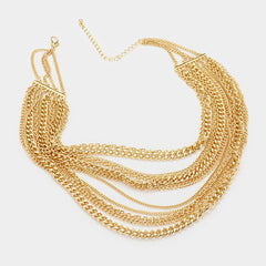 "14"" gold multi layered chain choker necklace .30"" earrings"