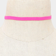 "18"" pink stretch band choker collar necklace .25"" wide adjustable"