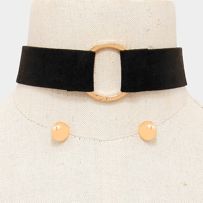 "11"" black hoop choker collar faux suede necklace .50"" earrings"