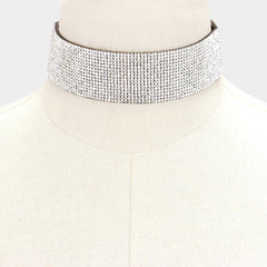 "12"" crystal choker collar Necklace 1.25"" wide"