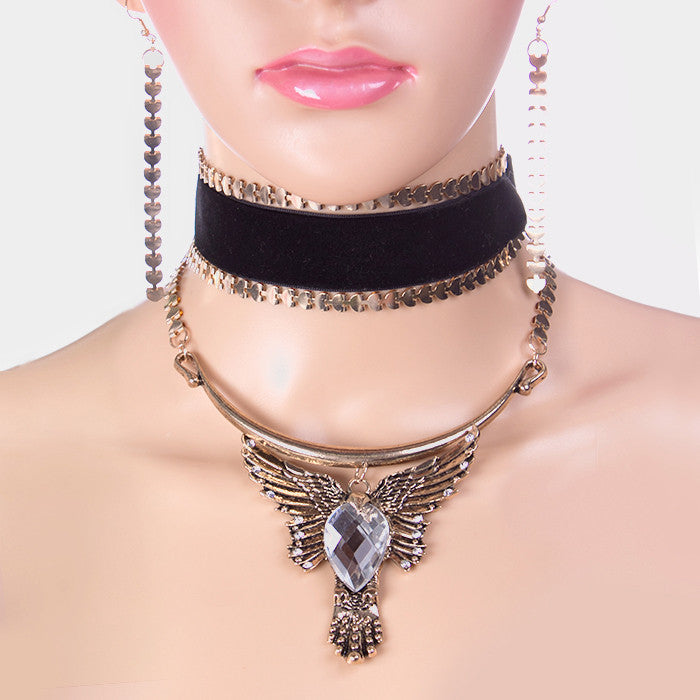 "12"" crystal antique gold velvet eagle choker collar necklace 4"" earrings"