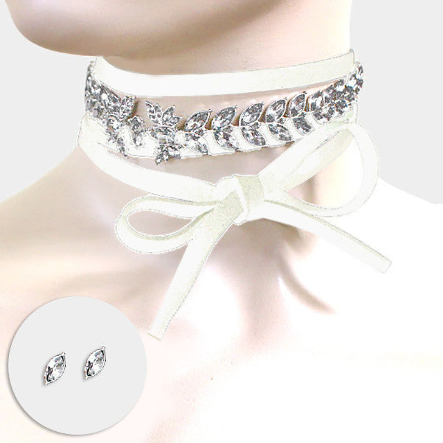 "70"" white crystal faux suede wrap necklace .25"" earrings choker collar"