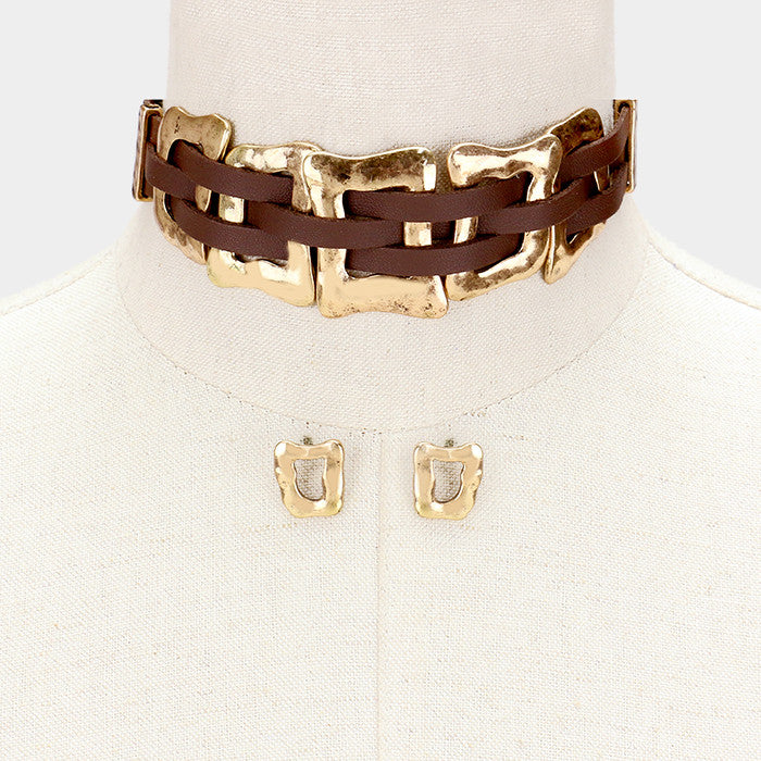 "11"" antique faux suede choker collar bib necklace .60"" earrings"