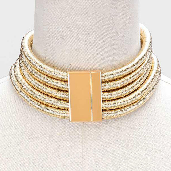 "16""  5 layer coil choker collar necklace multi layer magnetic closure 5 row"
