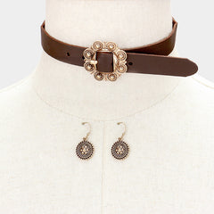"12"" buckle choker collar Necklace 1"" earrings 1.25"" wide"