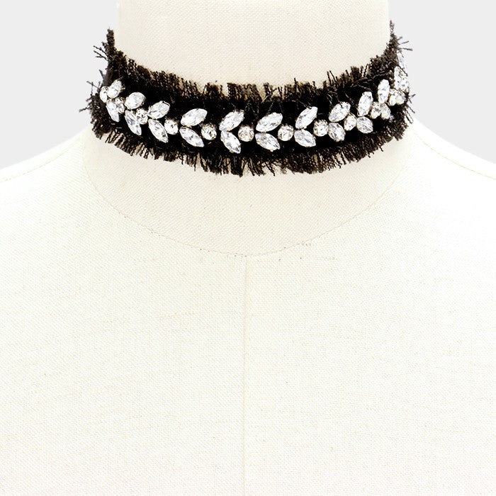 "12"" black crystal frayed denim choker necklace 1.25"" wide"