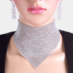 "12"" crystal bandana choker collar bib necklace 2.25"" earrings 5"" drop"