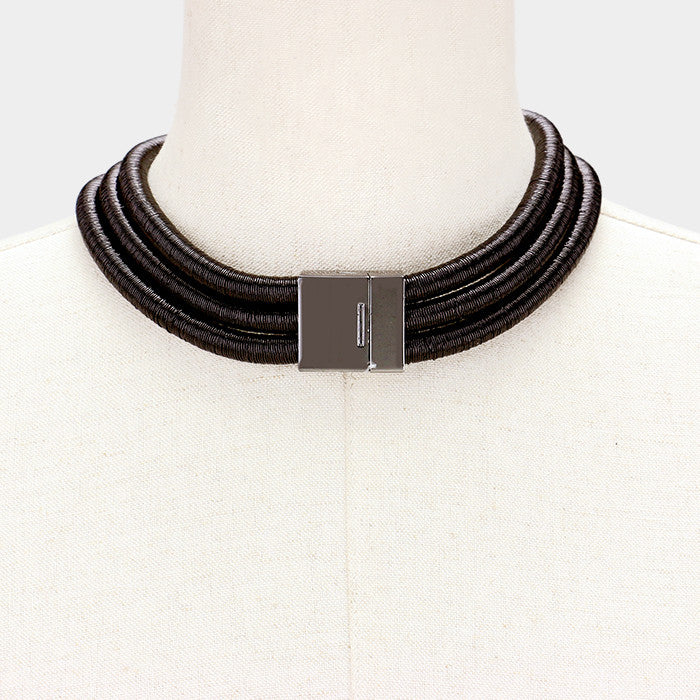 "15"" coil 3 row metallic choker necklace multi layer strand magnetic"