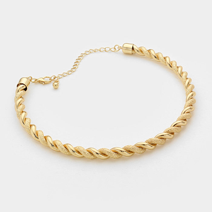 "14"" gold twisted cuff choker collar Necklace .30"" wide"
