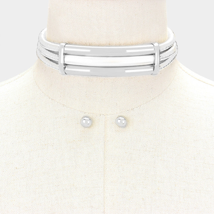 "12"" multi strand coil metallic 3 layered collar choker necklace .30"" earrings"