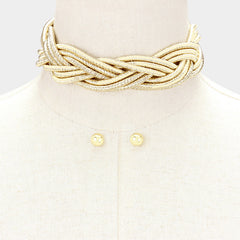 "13"" gold coil braided metallic collar choker necklace .30"" earrings 1.25"" wide"