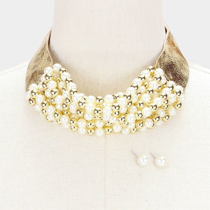 "46"" gold cream ribbon tie choker collar necklace 2"" wide faux leather"