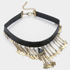 "12"" faux leather natural stone fringe charm choker collar bib necklace"