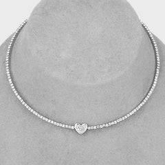 "15"" tennis clear crystal .25"" heart coil choker collar necklace"