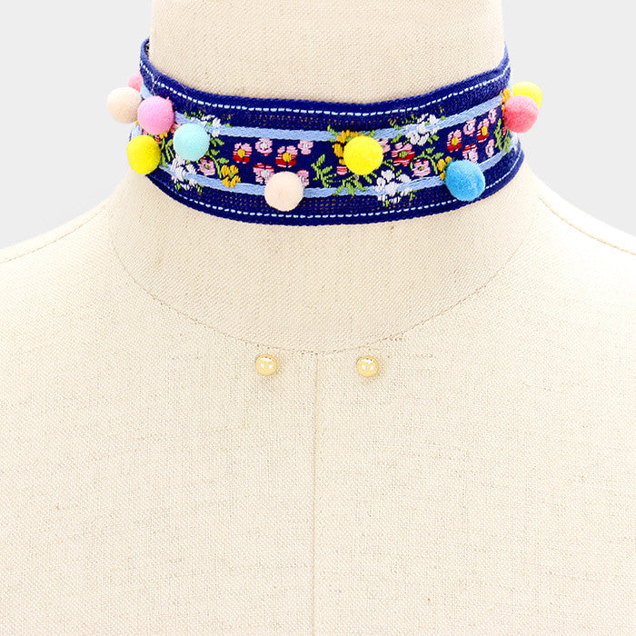 "12"" blue pom pom embroidered boho choker necklace .25"" earrings 1.25""  wide"