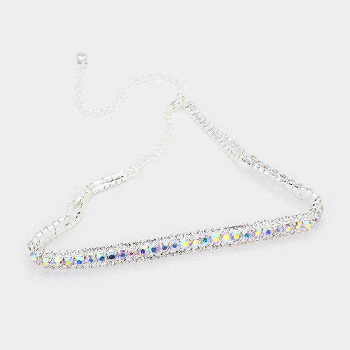 "14"" crystal choker collar necklace 1"" earrings bridal prom"