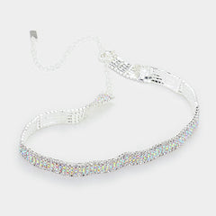 "14"" ab crystal choker multi row Necklace 1"" earrings .90"" wide prom bridal"