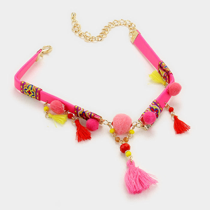 "12"" pink tassel choker boho necklace .25"" earrings 2.50"" drop"