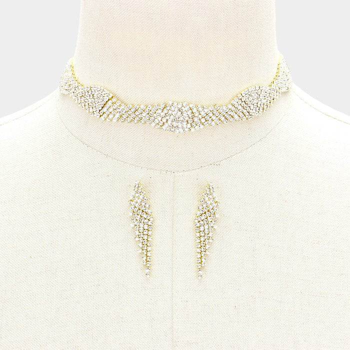"12"" gold crystal multi row choker necklace 2"" earrings .60"" wide bridal prom"
