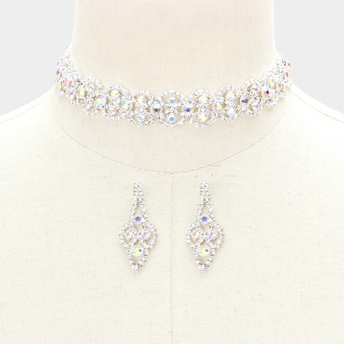 "14"" ab crystal choker lace Necklace 1.75"" earrings .75"" wide prom bridal"