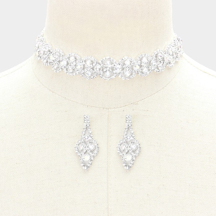 "14"" silver crystal choker lace Necklace 1.75"" earrings .75"" wide prom bridal"