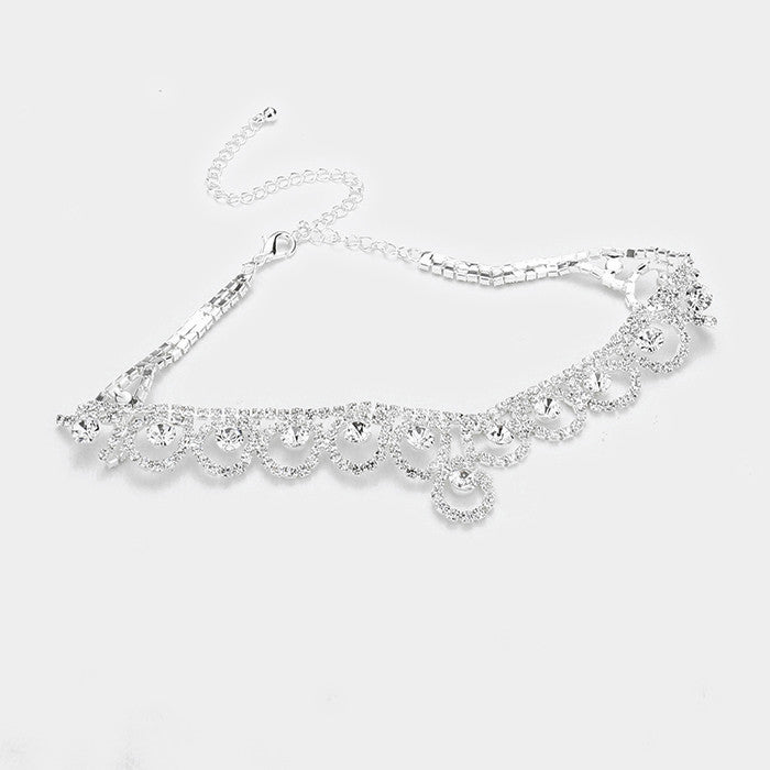 "12"" silver crystal choker bib collar necklace bridal prom pageant"