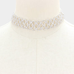 "13"" silver crystal lace choker bib collar necklace bridal prom pageant .90"" wide"
