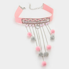"12"" pink pom pom tassel 1"" wide choker boho necklace 1"" earrings 6"" drop"