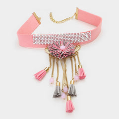 "12"" pink faux suede tassel 1"" wide choker boho necklace .75"" earrings 5.50"" drop 2065w"