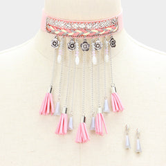 "12"" pink faux suede tassel charms choker boho necklace 1.25"" earrings 5"" drop"