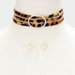 "12"" leopard print crystal choker necklace .30"" earrings 1"" wide"