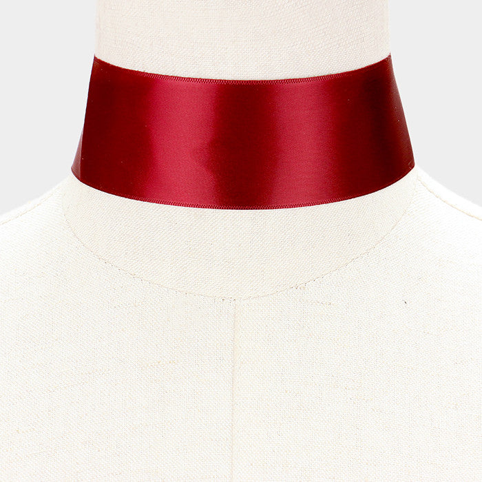 "12"" satin choker collar necklace 1.50"" wide"