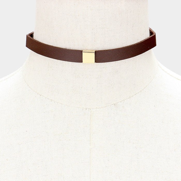 "12"" gold collar choker necklace faux leather"