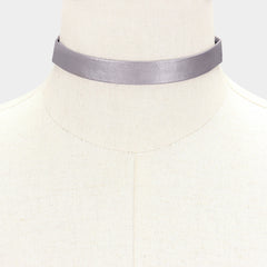 "12"" faux leather choker collar necklace .60"" wide"