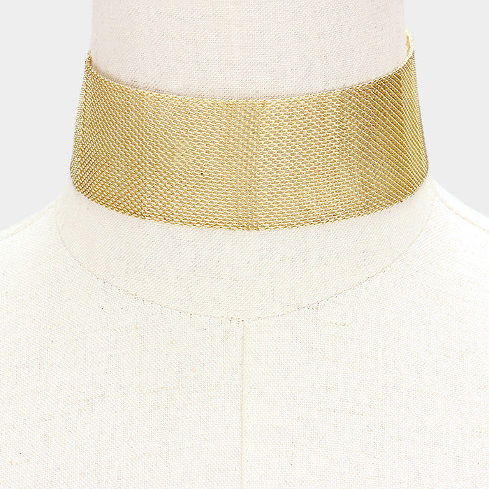 "12"" mesh choker collar bib necklace 1.50"" wide"