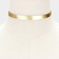 "12"" metallic collar choker necklace .50"" wide faux leather"