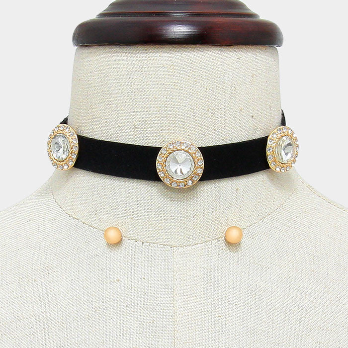 "12"" crystal triple round charm choker necklace .25"" earrings"