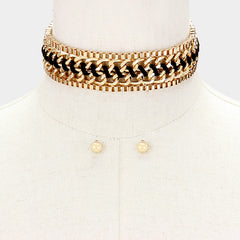 "12"" gold woven faux suede chain choker collar necklace .25"" earrings1"" wide"