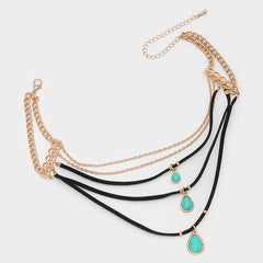 "13"" turquoise gold layered multi strand charm choker bib collar necklace boho"