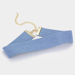 "12"" blue jean denim choker collar Necklace 1"" wide"