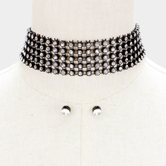 "13"" black crystal mesh net choker collar Necklace .30"" earrings 1.25"" wide"