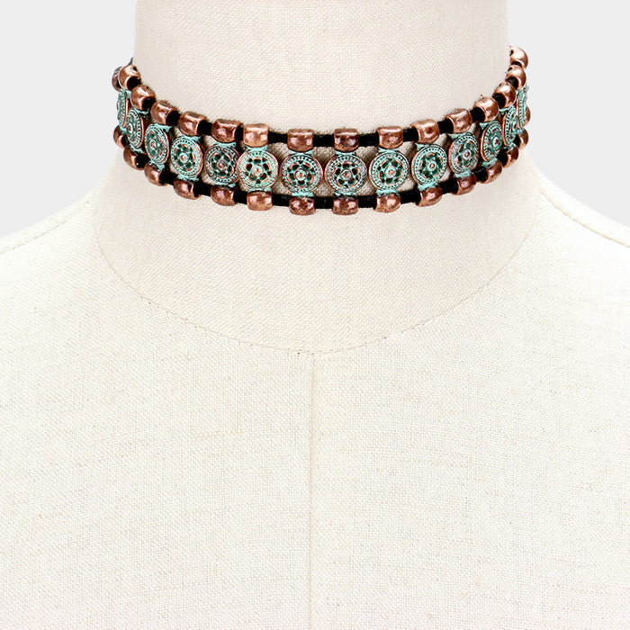 "12"" patina antique flower leaf choker collar Necklace 1"" wide boho"