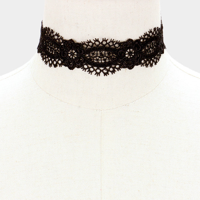 "12"" black floral lace collar choker necklace 1.25"" wide"