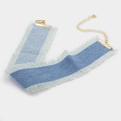 "12"" blue jean denim fringed choker necklace .30"" earrings 1.75"" wide"