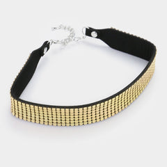 "12"" gold mesh choker collar necklace 1"" wide"