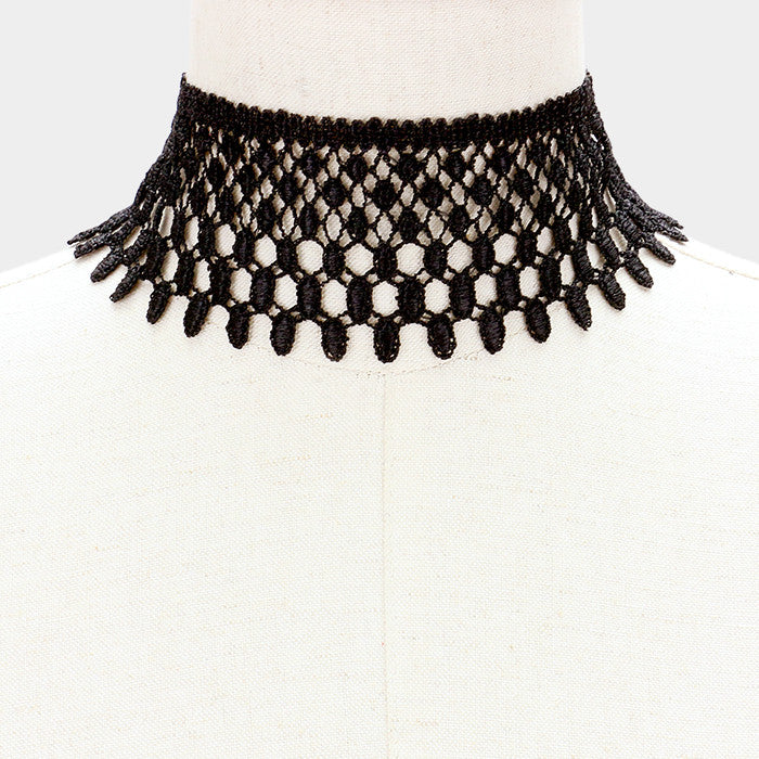 "13"" black lace boho collar choker necklace 2.25"" wide"