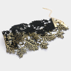 "12.50"" gold reversible leaf lace choker collar necklace 2"" wide"