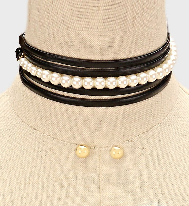 "64"" pearl faux leather tie layered wrap choker collar bib necklace .40"" earrings"