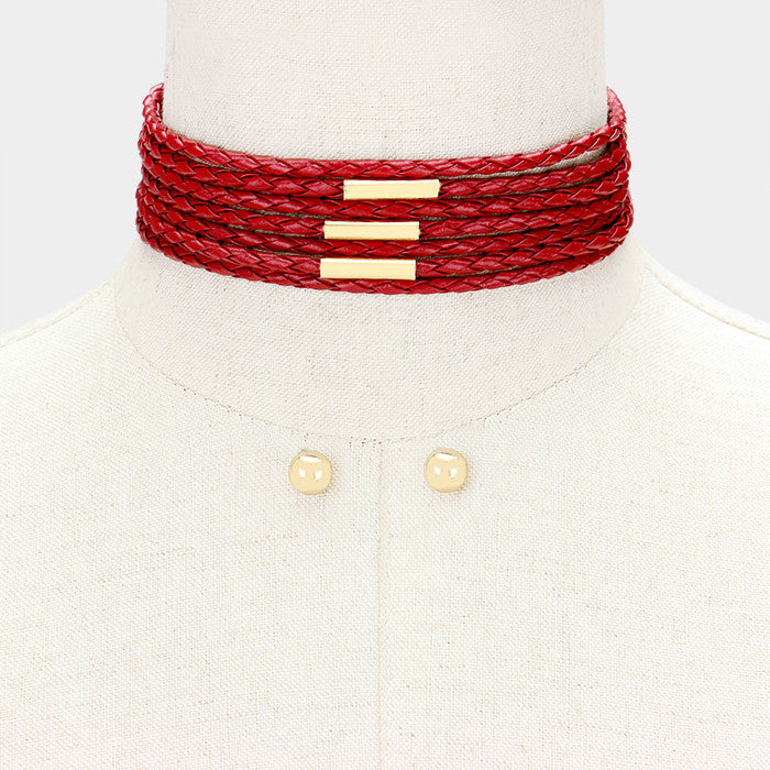 "12""  faux braided leather choker collar necklace .30"" earrings 1.50"" wide"