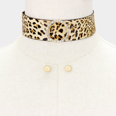 "12"" leopard crystal choker collar necklace .30"" earrings 1.25"" wide"